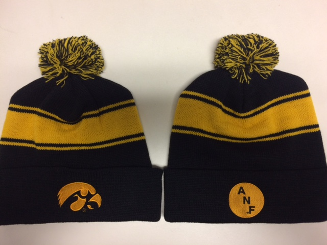 aa5bb589b2b Iowa Hawkeye ANF 3 Stripe with Pom Stocking Cap